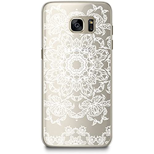 Case for Samsung S7, CasesByLorraine White Mandala Floral Pattern Transparent Case Clear Hard Plastic Cover for Samsung Galaxy S7 (P30) Sales