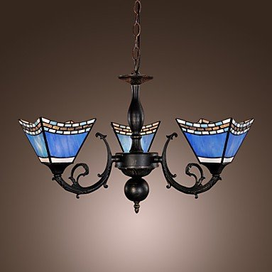 40w Antique Inspired Chandelier with 3 Lights - Blue Lampshade (Blue Light Chandelier compare prices)