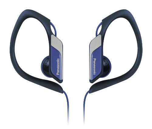 Panasonic Sports Clip Earbud Headphones RP-HS34-A (Blue) Water Resistant, Tough and Durable, Adjustable Ear Clip, Ultra Light