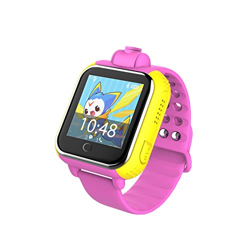(iSTYLE New Q730 Kids Wristwatch Support SIM Card 3G GPRS GPS Locator Tracker Anti-Lost Smart Watch Children Gifts Watch with Camera WiFi SOS for iOS Android Smartphone (Yellow) (Pink))