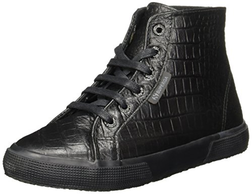 Superga Women's 2095 Croco High Top Sneakers, Total Black, 6.5 B(M) US