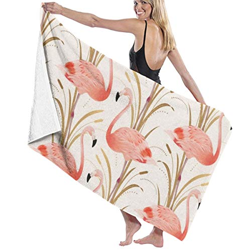 PTYHR Travel Towel Microfiber Luxury Towels, Lightweight & Ultra Soft, Pink Flamingo Clipart Style Sand Free, Quick Drying and for Daily Use, Home, Hotel, Spa, Shower