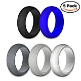 JINGRAYS 5-Pack Mens Silicone Wedding Ring, Wedding Bands for Men – 8mm Wide(2mm Thick) Safe and Sturdy Silicone Rubber Band – Black,Dark Grey,Light Grey,Silver,Blue,Size 7-12 Review