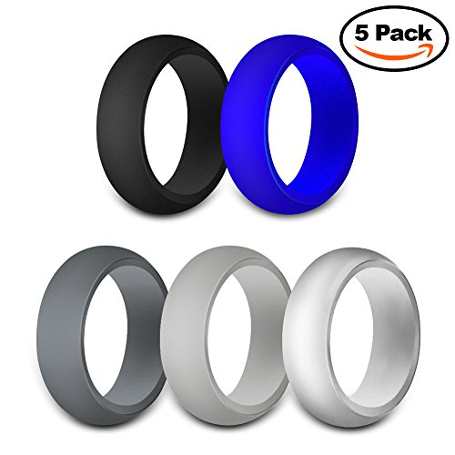 JINGRAYS 5-Pack Mens Silicone Wedding Ring, Wedding Bands for Men - 8mm Wide(2mm Thick) Safe and Sturdy Silicone Rubber Band - Black,Dark Grey,Light Grey,Silver,Blue,Size 7-12