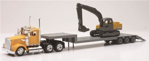NEWRAY 1:43 SEMI Trailer Kenworth W900 LOWBOY with 1:58 Excavator #15293 [並行輸入品] B07SHPPDMG