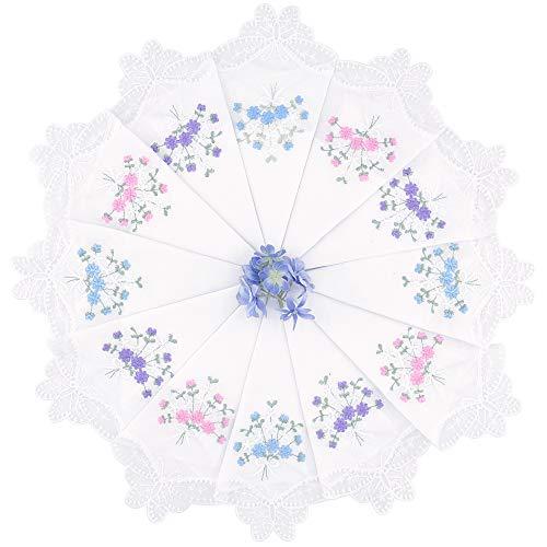 Milesky Women's Handkerchiefs 100% Premium Cotton Floral Embroidery Lace (WH01 - Pack of ()
