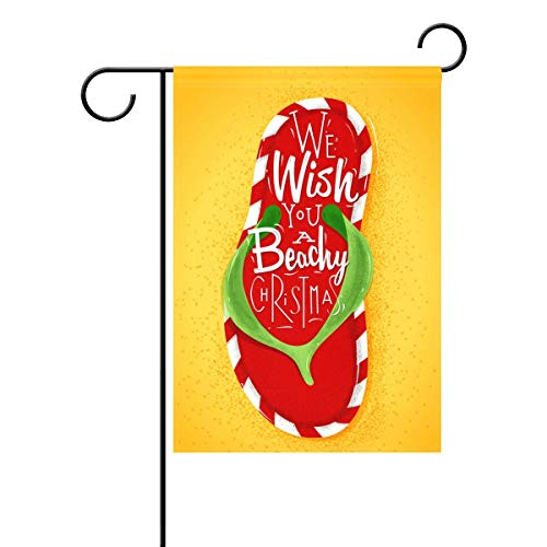 Red Flip Flop We Wish You Beachy Welcome Christmas Beach Sand Funny Summer Day Polyester House Garden Flag Banner 28 x 40 Inch for Anniversary Family Garden Decor