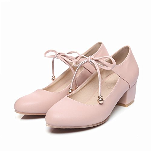 MissSaSa Damen Ankle-strap geschlossen Blockabsatz Pumps Pink