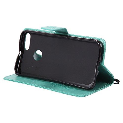 Funda Xiaomi Mi 5X, SsHhUu Funda PU Piel Genuino Carcasa en Folio [Ranuras para Tarjetas] [Cierre Magnetico] con Lápiz óptico + Acollador para Xiaomi Mi 5X / A1 (5.5) Rojo Verde