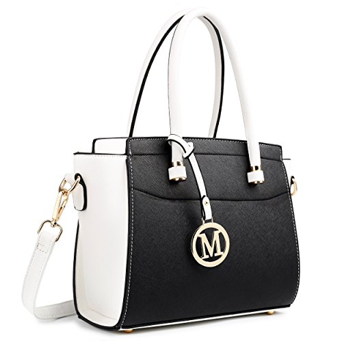 Leather Miss Shoulder Lulu Classic amp; Black Winged Look White Bag HRFTRwx5