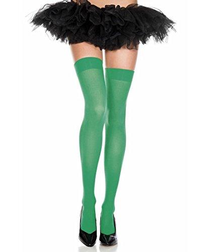 - Music Legs Opaque thigh hi,green,One size