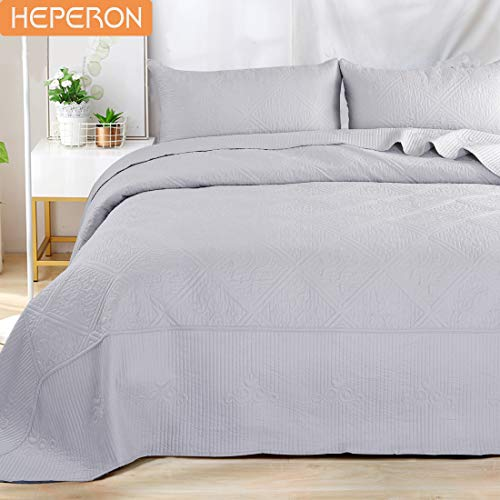 - HEPERON Bedspread Queen Size Soft Microfiber Cotton Fitting Gray 3-Piece Quilted Reversible Coverlet Set for All Season,1 Bed Cover + 2 Pillow Shams