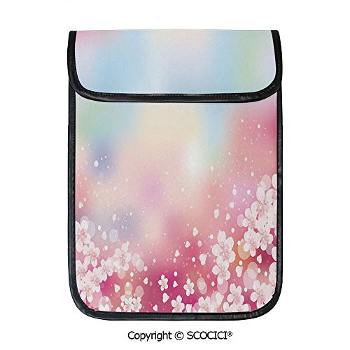 SCOCICI Shockproof Tablet Sleeve Compatible 12.9 Inch iPad Pro Japanese Nature Sakura Tree Cherry Blossoms Romantic Hazy Dreamy Cheerful Decorative Tablet Protective Bag