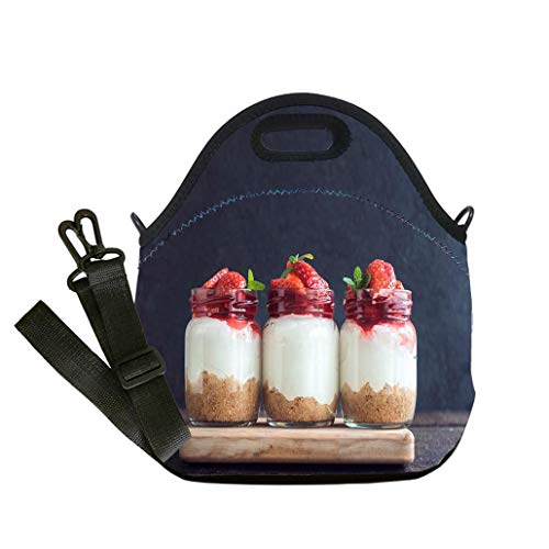 - 3D Print Neoprene Reusable Cooler Fashion Lunch Bag Sweet cheesecake with strawberries Multicolor,for Adults and children waterproof Lunch Box