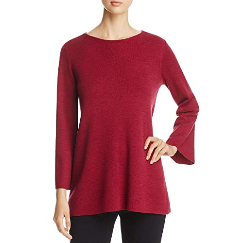 Eileen Fisher Womens Merino Wool Bell Sleeve Pullover Sweater Red S