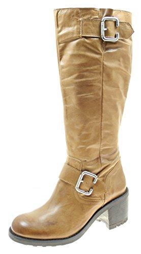 Stiefel Damenschuhe ECHT LEDER Farbe Camel mit seitlichem Reißverschluss (37)
