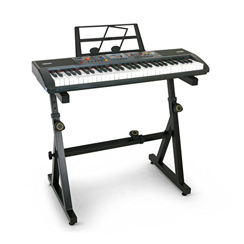 Plixio 61 Key Electronic Music Keyboard Piano and Adjustable Z Style Stand