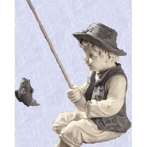 Frank the Fisherman statue home garden boys boy sculpture .(The Digital Angel) by Digital Angel
