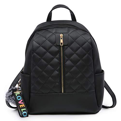 Faux Leather Backpack Purse for Women, XB Waterproof Purse Fashion Backpack New Version 2018 (Black)