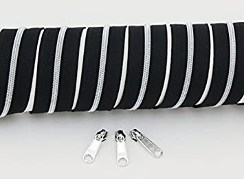 1m Endlosreißverschluss Spirale 3mm incl 17 Farben 2 Zipper Reissverschluss