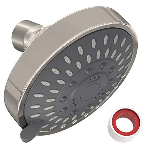 Shower Head High Pressure 4 Inch Showerhead 5-setting Adjustable Shower Head, Rain Shower Head 2.5 gpm Showerhead High Flow Shower Heads (NICKEL)