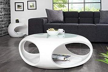 Dunord Design Couchtisch Sofatisch Torsion Weiss Hochglanz Glasfaser