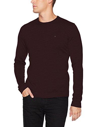 Calvin Klein Men's Merino Sweater Crew Neck, Dark Chestnut, Large