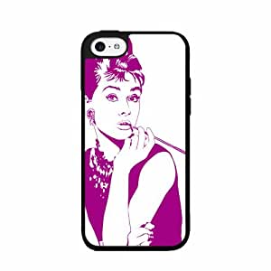 Cute painting Purple Audrey Hepburn - TPU Rubber Silicone Phone Case Back Cover (iPhone 5 5s) BY EPPOR