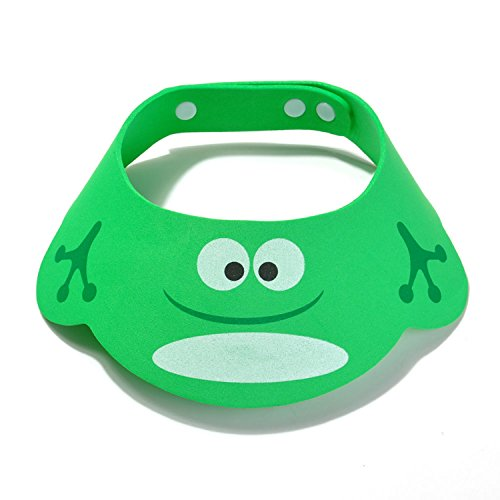 Frog Visor - Cartoon Baby Shower Cap with Ear Comfortable Adjustable Soft Waterproof Shampoo Shower Bathing Protect Shield Visor Hat for Baby Kids Toddler Children-Green Frog (with ears)