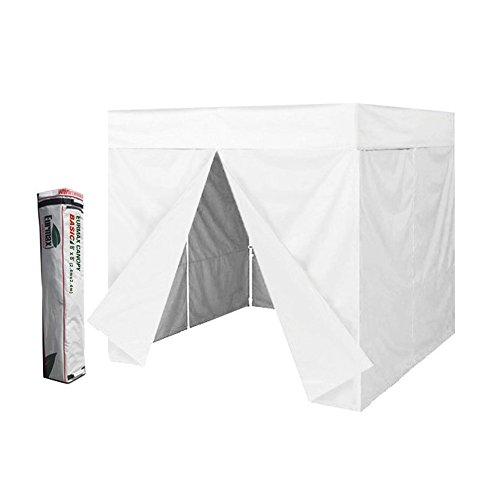 Eurmax 8 x 8 Pop up Canopy with Sidewalls Party Sun Shade Tent with Deluxe Carry Bag (White-Flat Roof)