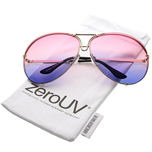 zeroUV - Oversize Slim Metal Arms Color Tinted Gradient Lens Aviator Sunglasses 68mm (Gold / Pink - Sunglasses Aviator Gradient