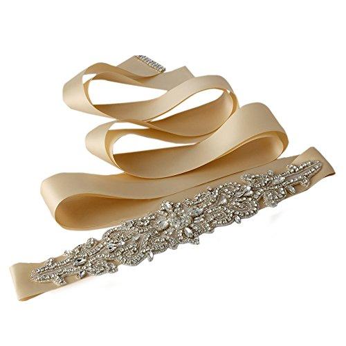 Champagne Belt (Azaleas Women's Crystal Beaded Sash Belts Wedding Belt Sashes for Wedding dress,)
