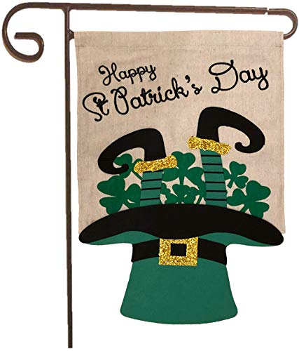 Partay Shenanigans Garden Flag - St Patrick's Day Leprechaun Garden Banner Outdoor Decoration 12.7