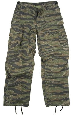 Vintage Vietnam Era 6 Pocket Fatigue Pants, Tiger Stripe, Medium
