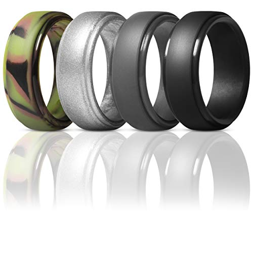 ThunderFit Silicone Rings for Men - 4 Pack Rubber Wedding Bands (Camo, Silver, Black, Dark Grey, 7.5-8 (18.2mm))