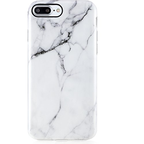 iPhone 7 Plus Case Marble, iPhone 8 Plus Case,VIVIBIN Cute White Marble for Men Women Girls,Clear Bumper Soft Silicone Rubber Matte TPU Best Protective Cover Slim Fit Phone Case for iPhone 7/8 Plus