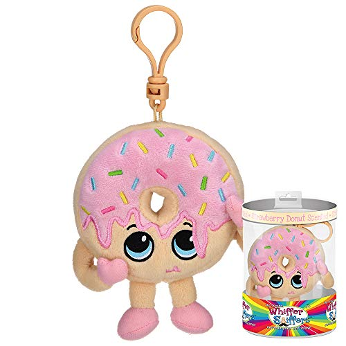 Whiffer Sniffers Farrah Frosted Strawberry Donut Scented Plush Backpack Clip, 4.5 in