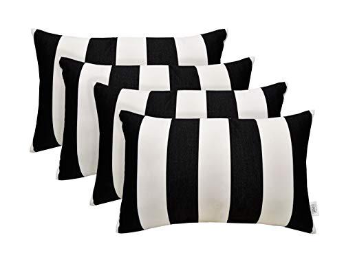 RSH Décor Set of 4 Indoor Outdoor Decorative Rectangle Lumbar Throw Pillows Sunbrella Cabana Classic (20