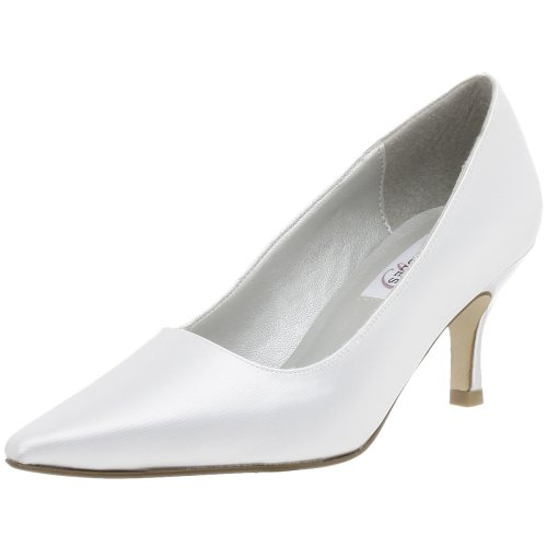 Dyeables Women's Gala Dyeable Pump,White,6 (Dyeables Satin Pumps)
