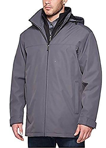 (Weatherproof Mens Double Zipper Hoodie Anorak Jacket Gray XXL)