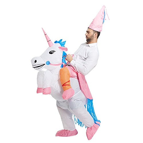 [TOLOCO Inflatable Unicorn Rider Halloween Costume (Unicorn-Adult)] (Funny Costumes)