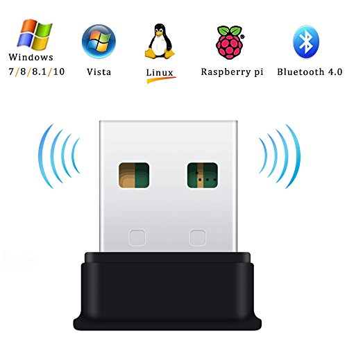 Bluetooth USB Adapter , Bluetooth 4.0 USB Dongle, Low Energy for PC, Wireless Dongle, Windows 10, 8.1, 8, 7, Raspberry Pi, Linux Compatible;