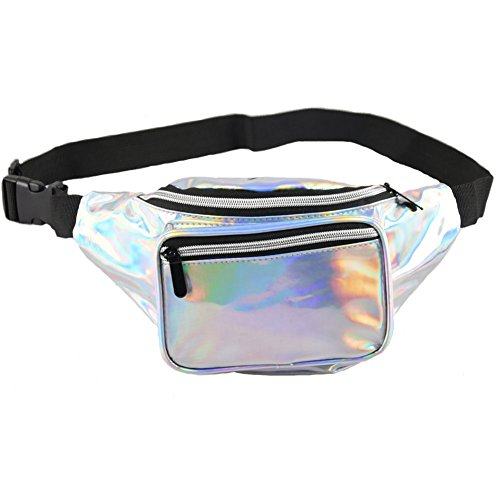 Holographic Fanny Pack for Women - Waist Fanny Pack with Adjustable Belt for Rave, Festival, Travel, Party (Silver with Black Zipper) by Mum's memory