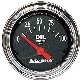 Autometer 2522 Traditional Chrome Oil pressure gauge 2-1//16 in. Electrical