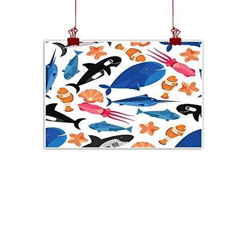 Mannwarehouse Modern Oil Paintings Fish Cartoon Seamless Pattern Wallpaper Canvas Wall Art 35