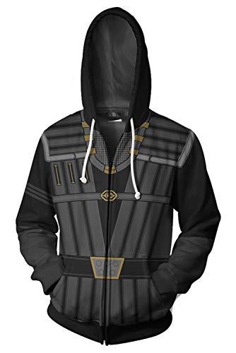 Paniclub Unisex Printed Klingon Uniform Jacket Adult Zipper Hoodie Halloween Cosplay Costume,Small -
