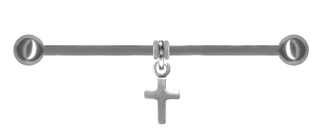 BodySparkle Body Jewelry Tiny Cross Industrial Earring Scaffold Bar-14g-47mm Steel Straight Barbell