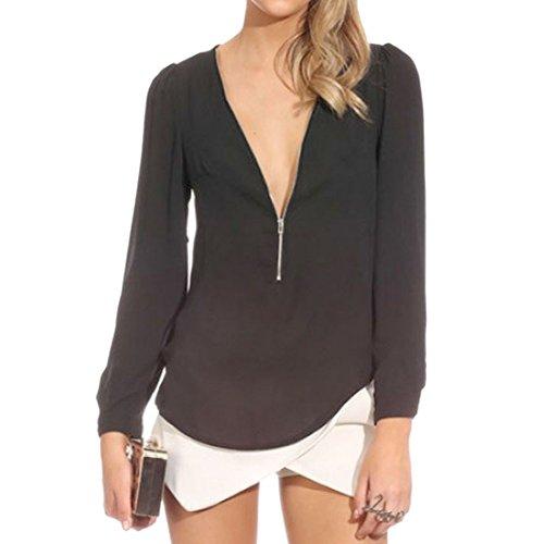 Sexy Femmes Solid Color Manches Longues Col En V Profond Lache Mousseline Tops T-Shirt Blouse