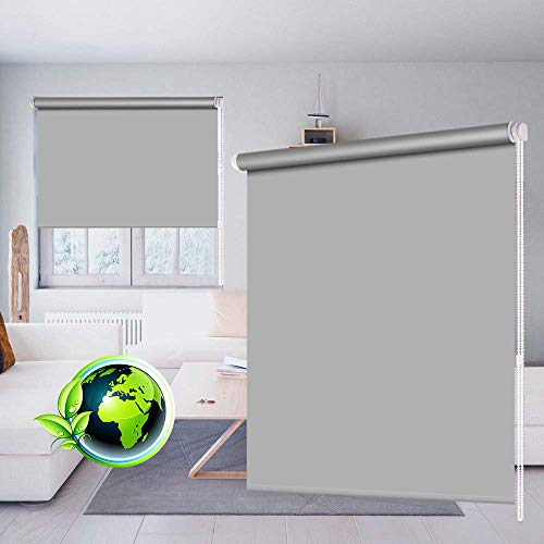 SEEYE 100% Blackout Waterproof Fabric Window Roller Shades Blind, Thermal Insulated Darkening Cordless Living Room,Bathroom Grey;44