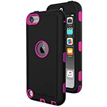 iPod Touch 6th Generation Tough Case & Jogging Clip, ExosArmor (Warrior Series) Tough Cover for Apple iTouch 5/6 [Triple Layer] Hybrid Shell w/ Built In Screen Protector (Pink)